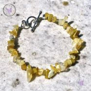 Yellow Opal Chip Bracelet With Silver Toggle Clasp